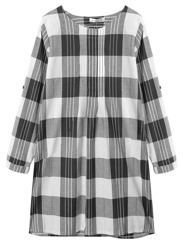Women Long Sleeve O Neck Plaid Pockets Cotton Linen Dress Casual Dress