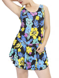 Plus Size Sexy Round Neck Swimsuit Floral One Piece Swimwear For Women
