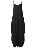 Sexy Women Low Cut V Neck Strap Backless Solid Color Beach Long Dress