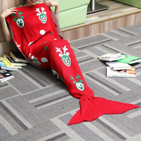 180x90cm Christmas Gift Yarn Knitting Mermaid Tail Blanket Air Conditioning Warm Bed Mat