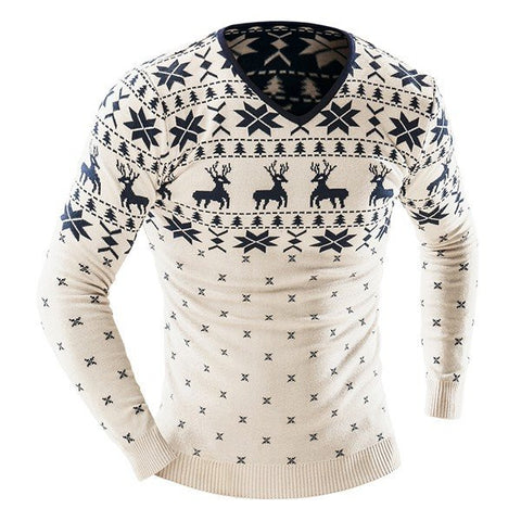 Men's Winter Fashion Deer Printing Knitted Sweater V-neck Casual Pullover