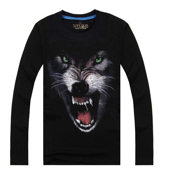 Men's Fashion Unique 3D Printed Noctilucent Wolf Cotton Blended Long-sleeved T-shirt