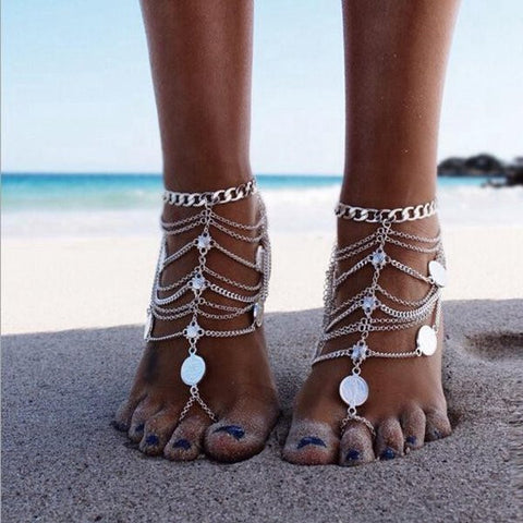 1Pc Punk Metal Coin Multilayer Chain Tassel Anklet