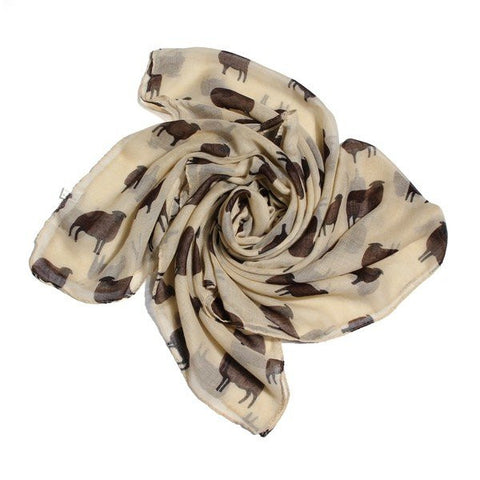 Cute Cartoon Animal Sheep Print Scarf Winter Warm Voile Stripe Shawl Wrap Pashmina