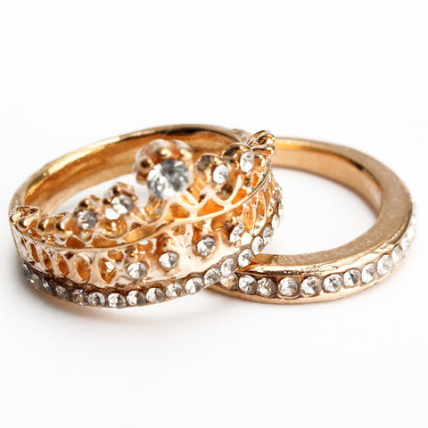 2Pcs Elegant Gold Silver Crystal Crown Rings