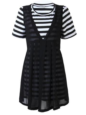 Casual Stripe Knitted Pleated Chiffon Two-Layer Mini Dress For Women
