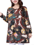 Vintage Women Floral Printed Long Sleeve O Neck Mini Linen Dress