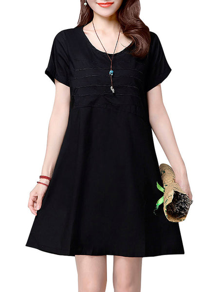 Vintage Embroidered Short Sleeve Loose Dress For Women