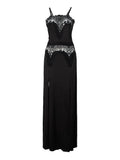 Sexy Women Lace Crochet Patchwork Strap High Split Chiffon Maxi Dress