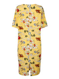 Women Summer Vintage Chinese Style Flower Printing Short-Sleeve Loose Dress