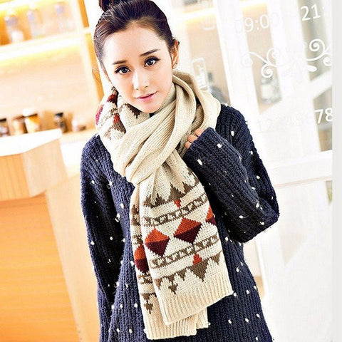 Couple Winter Thermal Geometric Pattern Scarf Crochet Knitted Long Wrap Shawls
