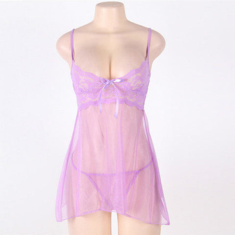 Plus Size Women Sexy Babydoll Lingerie Lace Spaghetti Strap Transparent Nightdress