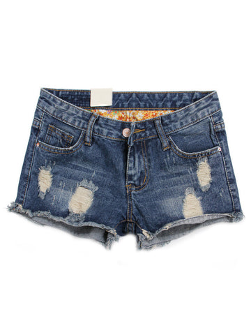 Casual Women Holes Pockets Low Waist Denim Shorts Jeans