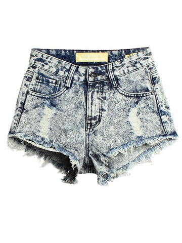Women High Wasit Pokect Broken Hole Irregular Hem Denim Shorts