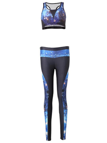 Women Starry Sky High Elasticity Two Pieces Set Tracksuit Yoga Gym Clothes