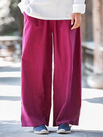 Chinese Style Women Casual Elastic Waist Pure Color Wide Leg Pants