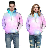 Men's Starry Sky Printed Front Pocket Drawstring Hooded Couple's Loose Fit Hoodies