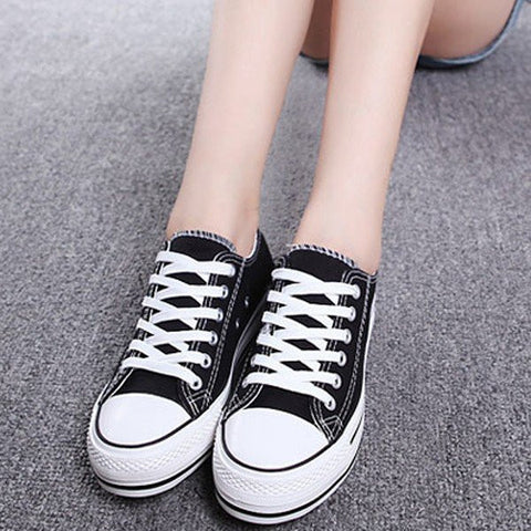 Canvas Candy Color Korean Style Lace Up Platform Casual Shoes