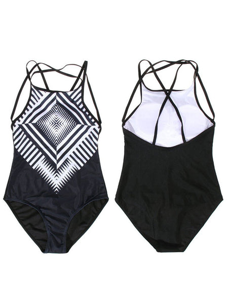 Women Sexy Geometric Printed One Piece Bikini Halter High Neck Swimsuit