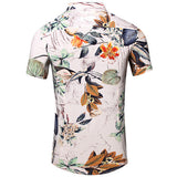 Mens Summer Beach Floral Pattern Printing Quick Dry Cotton Short Sleeved Shirts
