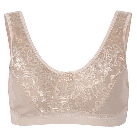 Women Sexy Breathable Embroidered Lace Sports Bras Elastic Cotton Gather Vest Bras