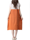 Vintage Casual Loose Patchwork Cotton Linen Short Sleeve O-Neck Dress For Women
