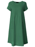 Women Short Sleeve O Neck Pocket Linen Loose Dress