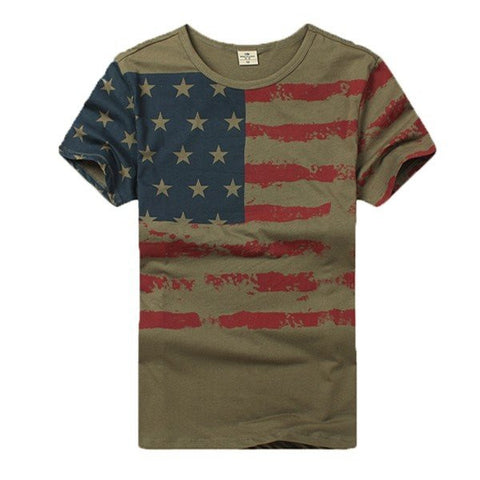 Battlefield Fans Men's Summer Camo Military Flag Printed Casual Outdoor T-shirts - shechoic.com
