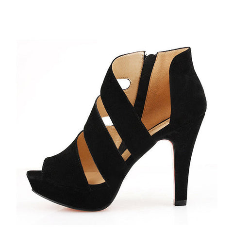 Black Strappy Bandage Hollow Out Zipper Peep Toe High Heel Sandals