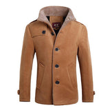 Men's Thick Warm Plus Size Slim Fit Wool Lining Single Breasted Fashion Long Coat