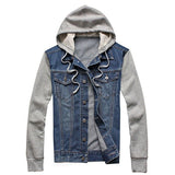Men's Fashion Denim Cotton Blend Patchwork Hooded Jackets