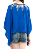 Ethnic Batwing Sleeve Patchwork Hollow Irregular T-shirt For Women