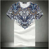 Summer Men's Ethnic Style Flower Printed Cotton T-shirt Casual O-neck Short Sleeve T-shirt Plus size
