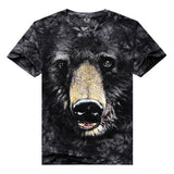Men's Unique Cool 3D Black Bear Printing Tees Plus-Size Cotton T-shirt
