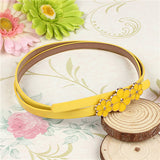 Women Skinny Flower Thin Leather Waist Strap Adjustable Buckle Belt