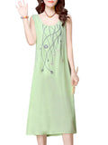 Ethnic Women Floral Embroidery Pure Color Vest Dress For Women