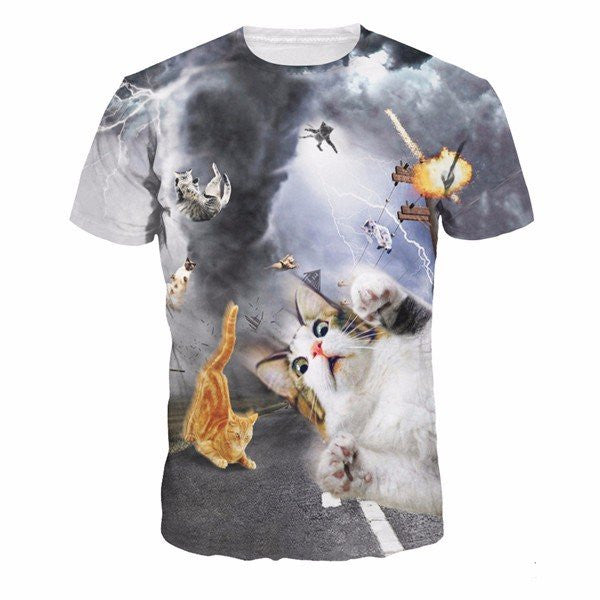 Stylish Mens Summer Cool 3D Cats Printing Casual Short Sleeved T-shirts