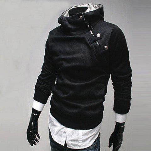 Men's Large Size Slim Fleece Metal Buckles Zipper Hoodies