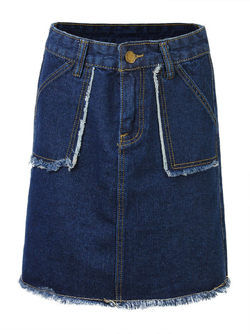 Casual High Waist A-Line Denim Short Skirt For Women