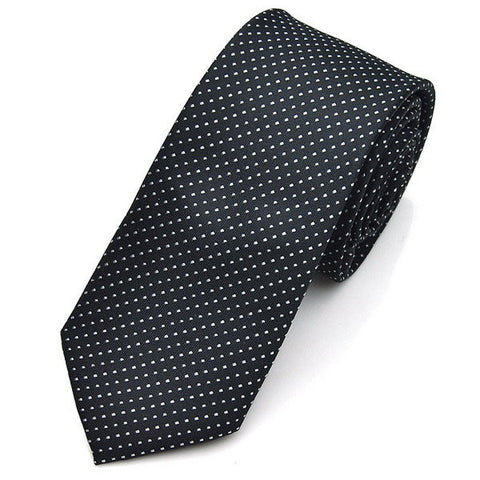 Jacquard Formal Business Men's Ties Dot Polyester Silk Skinny Woven Solid Neckties