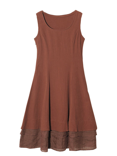 Vintage Solid Sleeveless A-line Dress For Women