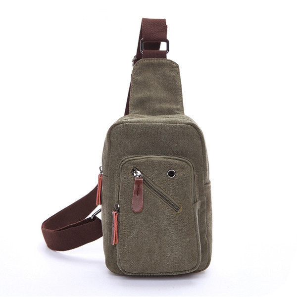 Mens Crossbody Bag Chest Pack Canvas Portable Travel Bag