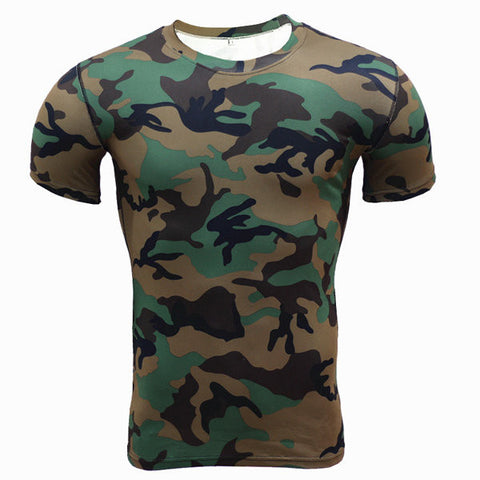 Camo Training Bodybuilding Tops Quick-drying Elastic Thight Short Sleeve T-shirt For Men