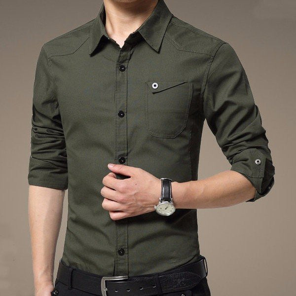 Mens Large Size Casual Long Sleeved Shirts Cotton Pure Color Dress Slim Fit Shirts