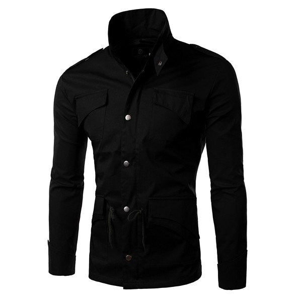 Men's Spring Fashion Stand Collar Jacket Slim Fit Casual Coat