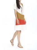 Vintage Patchwork Contrast Color Cotton Linen Dress Short Sleeve For Women