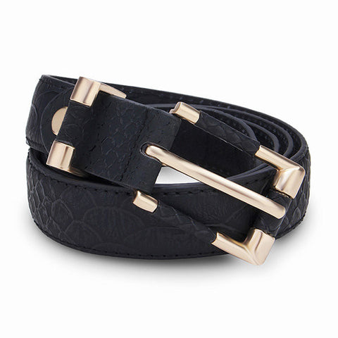 Rectangle Serpentine PU Leather Belt Rose Gold Pin Buckle Strip