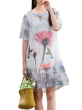 Elegant Floral Hollow Out Chiffon Dress For Women