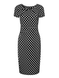 Polka Dots Stitching Short Sleeve Round Collar Knee-Length Dress