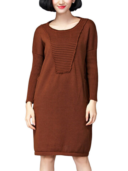 Loose Women Solid Stripe Pocket O Neck Long Sleeve Knitted Dress